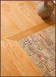 Travertine and Hardwood Floor